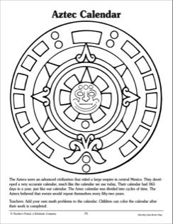 Aztec Calendar Reference And Pattern Page Aztec Calendar