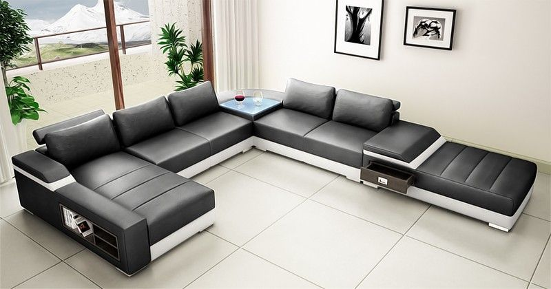 Saturn Leather Sectional Sofa Set