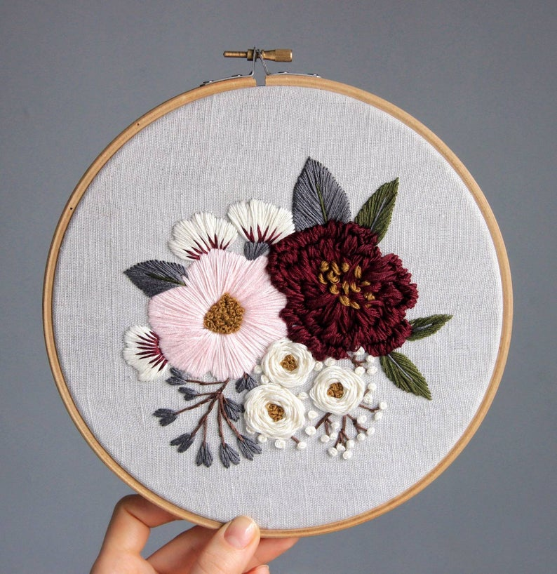Pdf pattern+ video tutorial. Pink and burgundy peonies/ digital tutorial floral diy hand embroidery Digital Download