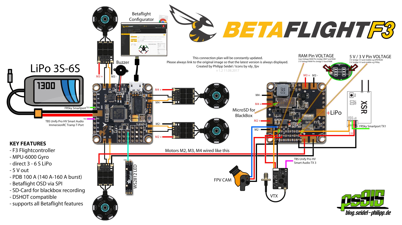 Fpv Racing Drone Wiring Diagram Y Plan Honeywell Betaflight F3 Flight Controller Anschlussplan Wiringplan