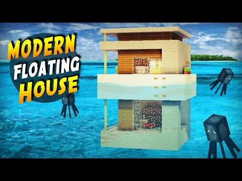 Minecraft How to Build a Modern House on Water Tutorial 2017