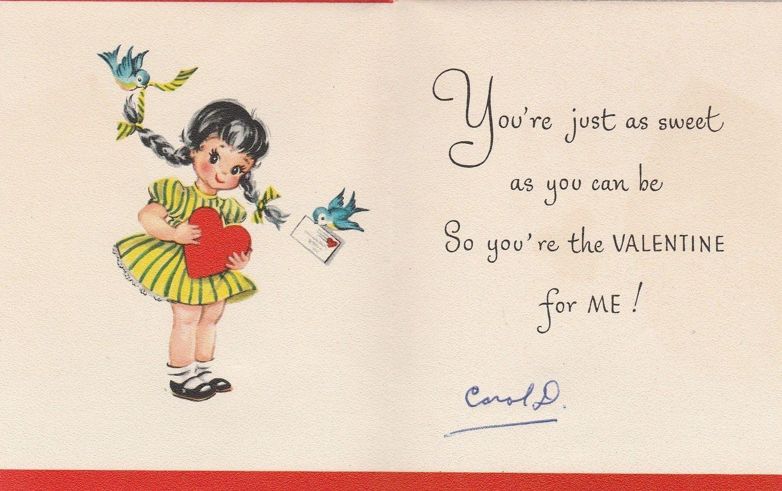 Vintage Valentine Card Little Girl With Braids 1958 Munson