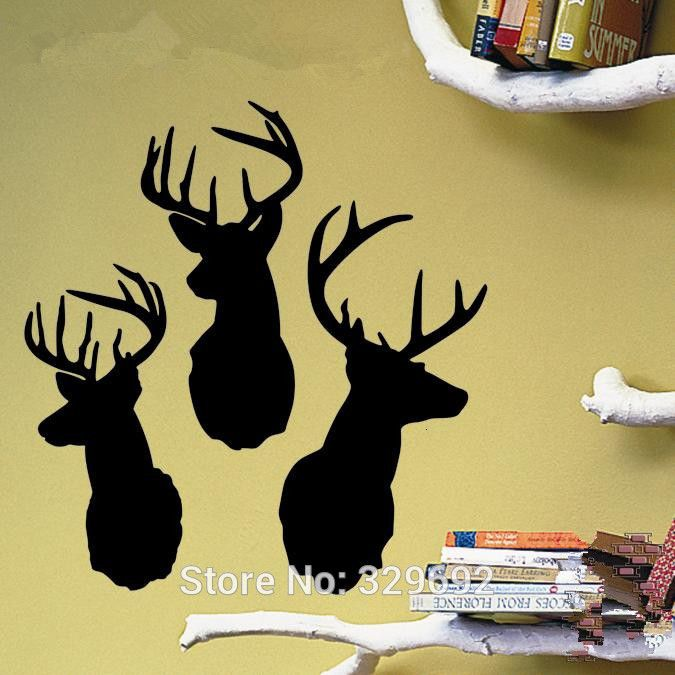 Deer wall sticker home decoration removable vinyl wall paper wall ...