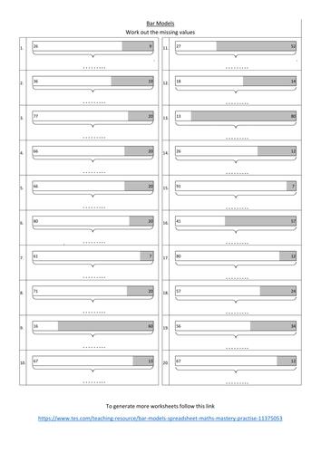 Bar Models Worksheet Maths Mastery Practise Primary Maths