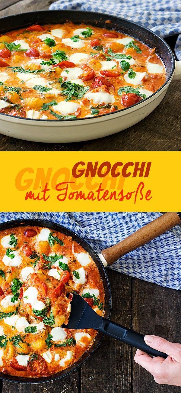 Gnocchi mit Tomatensoße und Mozzarella #vegetarischerezepteschnell