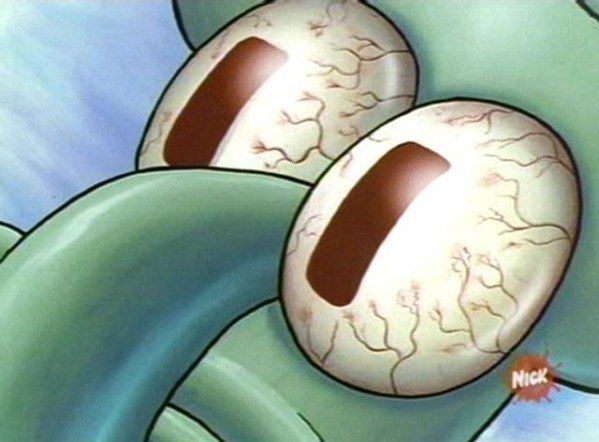 When you're sitting at your computer waiting for class registration to open.   27 Squidward Faces Every College Student Will Recognize