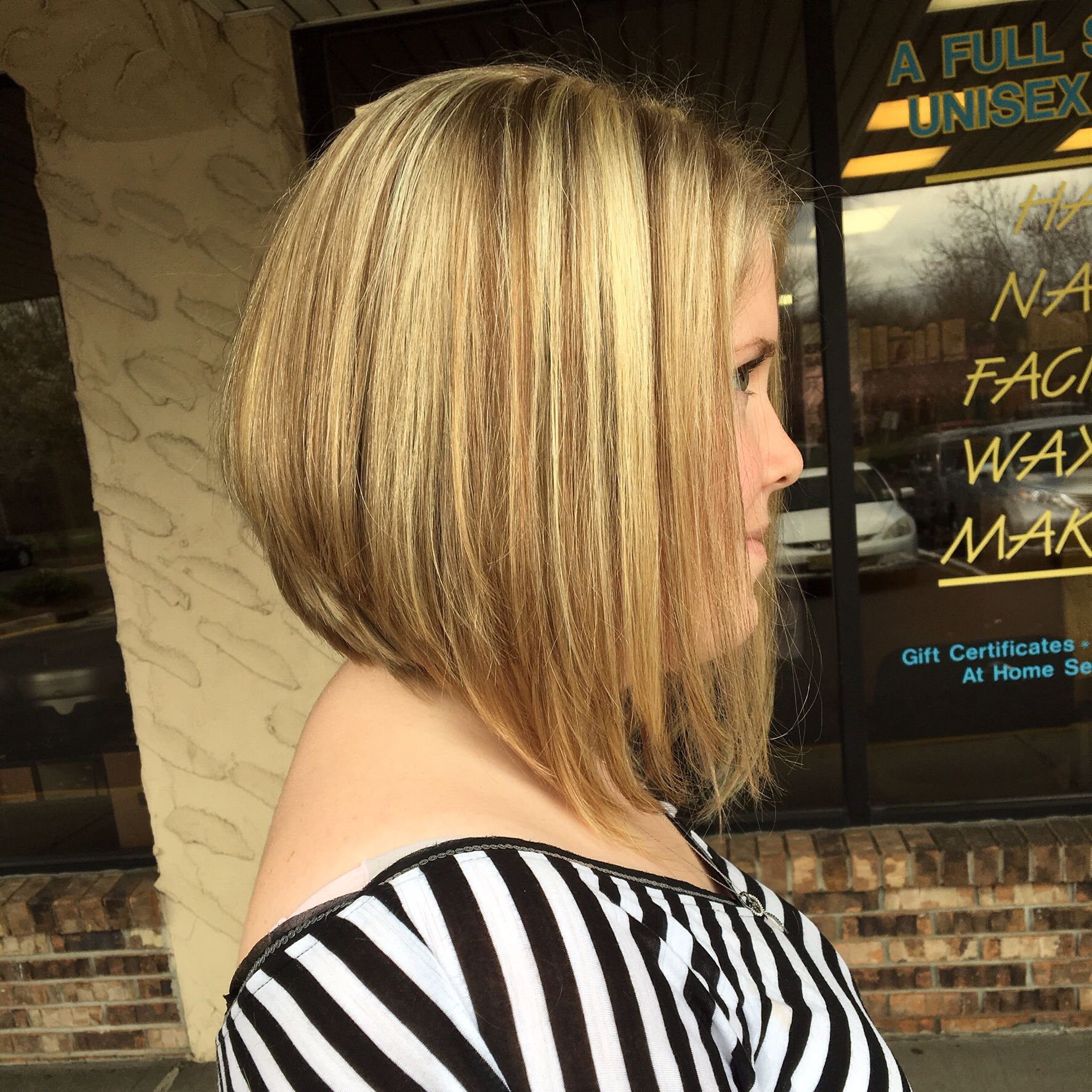 Angled Bob With Highlights And Lowlights Cut Colored And Styled