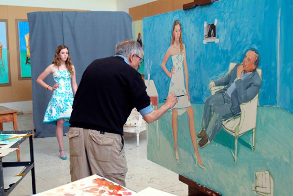 David Hockney finalising a family painting