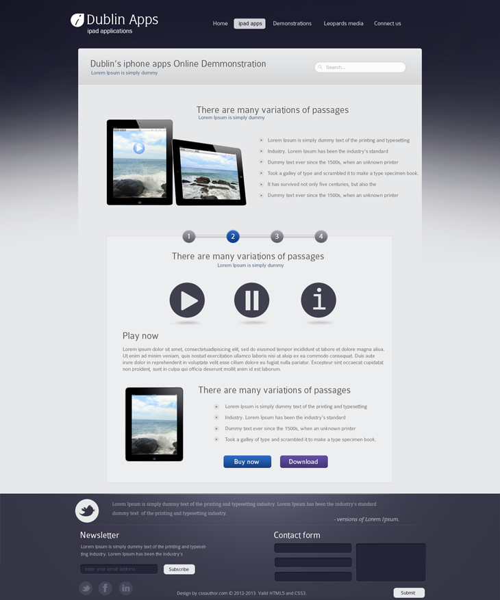 Dublin Ipad Apps Product Demo Page Website Template Design Professional Website Design Website Design