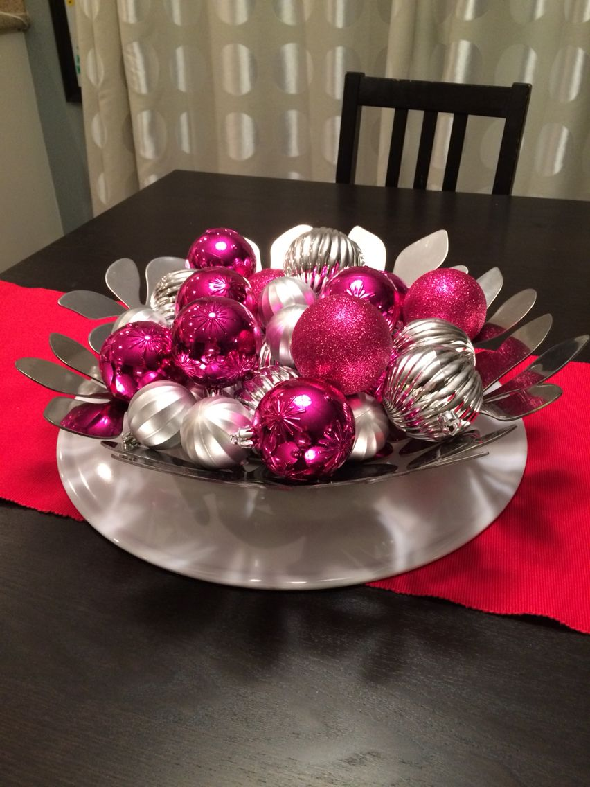 I created this easy, simple, kid-friendly Valentine's Day centerpiece using my old IKEA bowl and clearance Christmas ornaments!