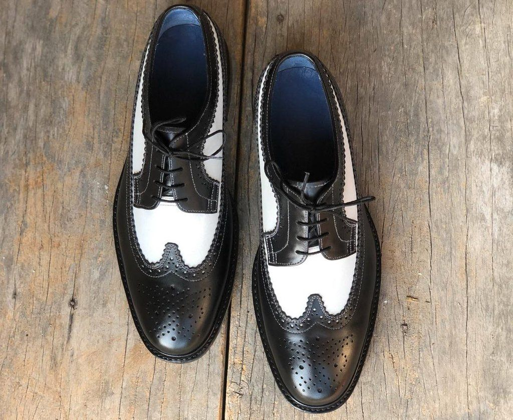Black White Wing Tip Brogue Leather Lace Up Men S Shoes Leather Dress Shoes Lace Up Shoes Leather And Lace [ 838 x 1024 Pixel ]