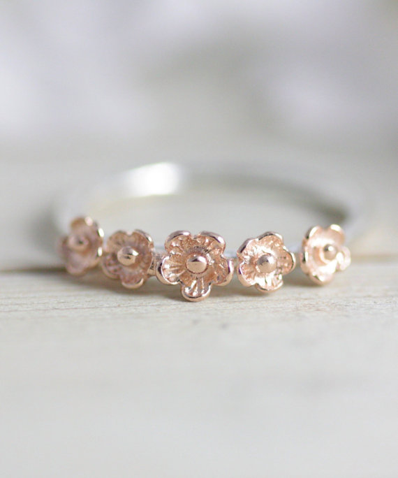16ac2e24387b Sterling silver flower ring statement ring rose gold by TedandMag