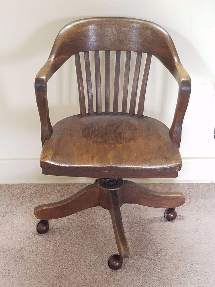Vintage Antique Barrel Oak Wood Swivel Office Bankers Library Desk