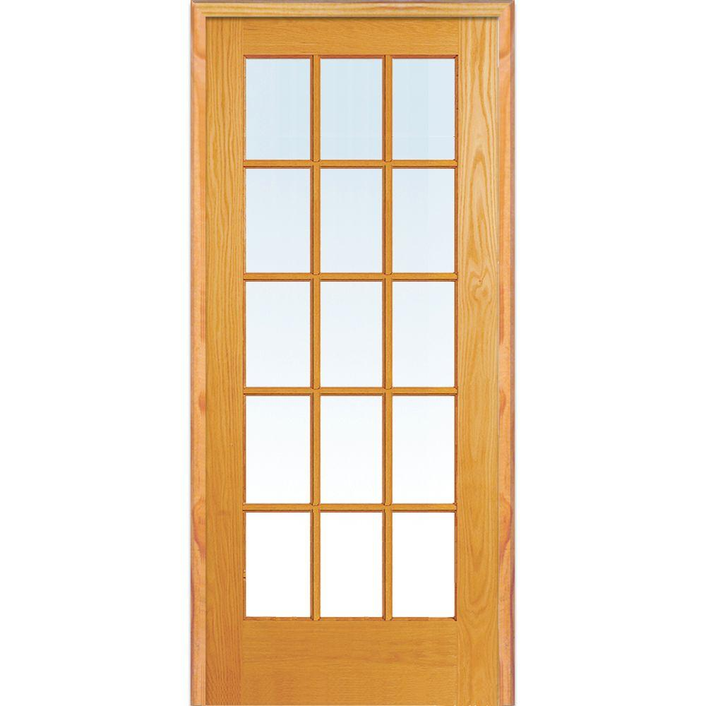 Mmi Door 36 In X 80 In Left Hand Unfinished Pine Glass 15 Lite Clear True Divided Single Prehung Interior Door Z019954l The Home Depot French Doors Interior Prehung Interior Doors Glass French Doors