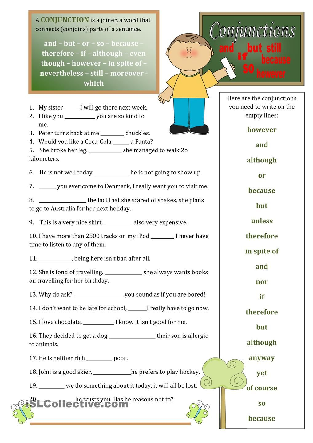 Conjunctions Linking Words Conjunctions English Worksheets For Kids [ 1440 x 1018 Pixel ]