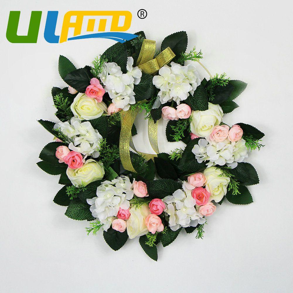 Uland Artificial Flowers Cheap Silk Rose Door Wreath For Decoration