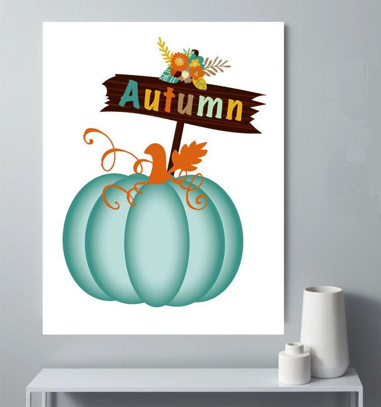 Printable Fall Classroom Decorations ~ Autumn decor teal pumpkin print blue wall