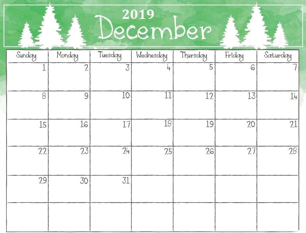 December Calendar 2019 Christmas Printable December 2019 Christmas Calendar | Calendar 2018 in 2019