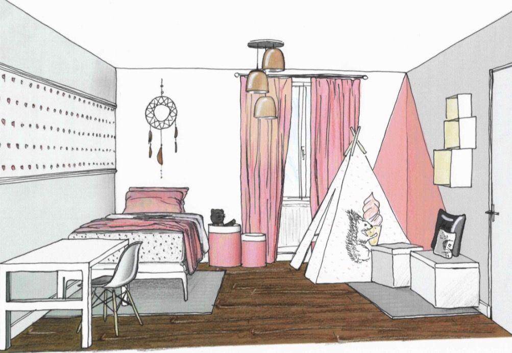 Chambre Realisee Par Tiffany Fayolle Architecte D Interieur Et Decoratrice 0659572865 Croquis Dessi Architecte Interieur Croquis Maison Dessin Architecte
