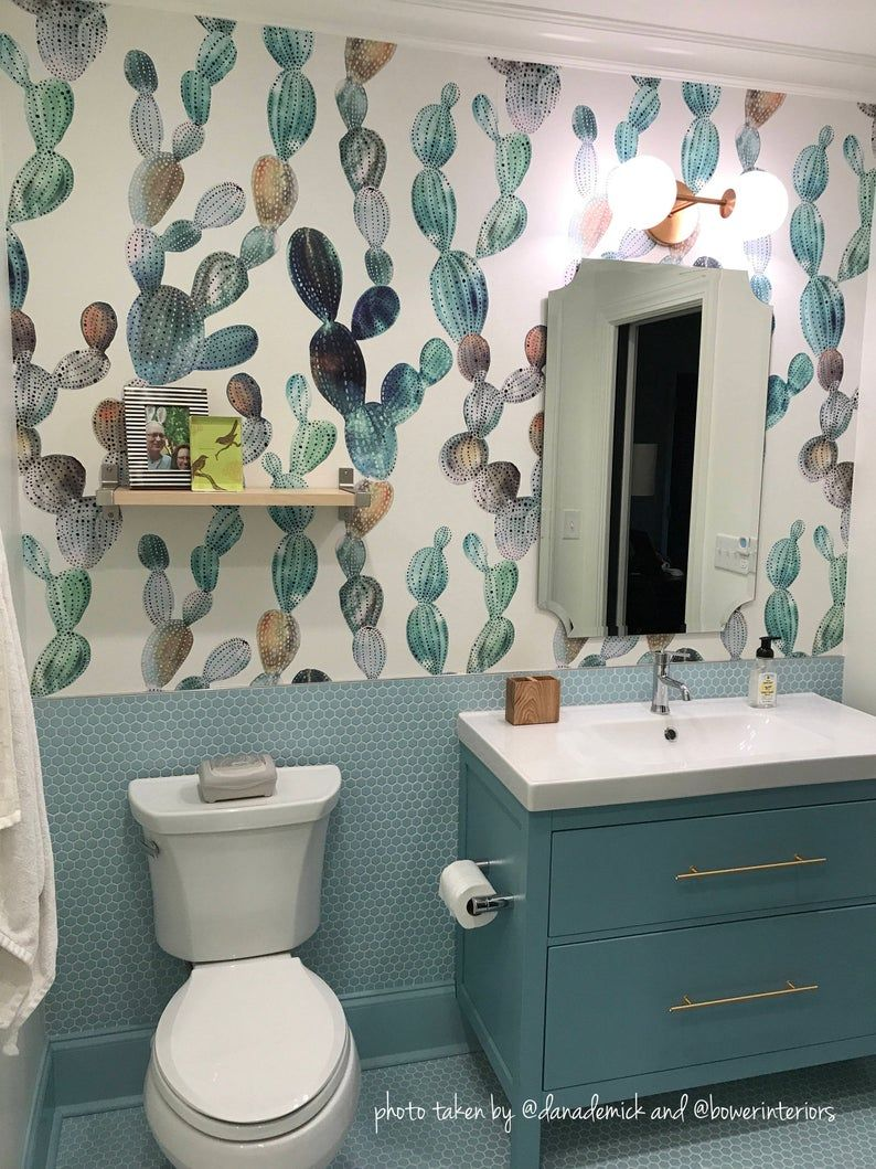 Awesome Cactus Removable Wallpaper Metallic Look Cactus Etsy Bathroom Decor Amazing Bathrooms Kids Bathroom