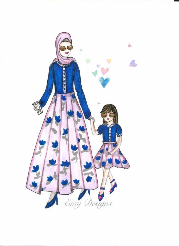 Fashion Desgin And Illustrationmother And Daughter تصميم ازياء الام وبنتها Fashion Design Disney Princess Disney Characters