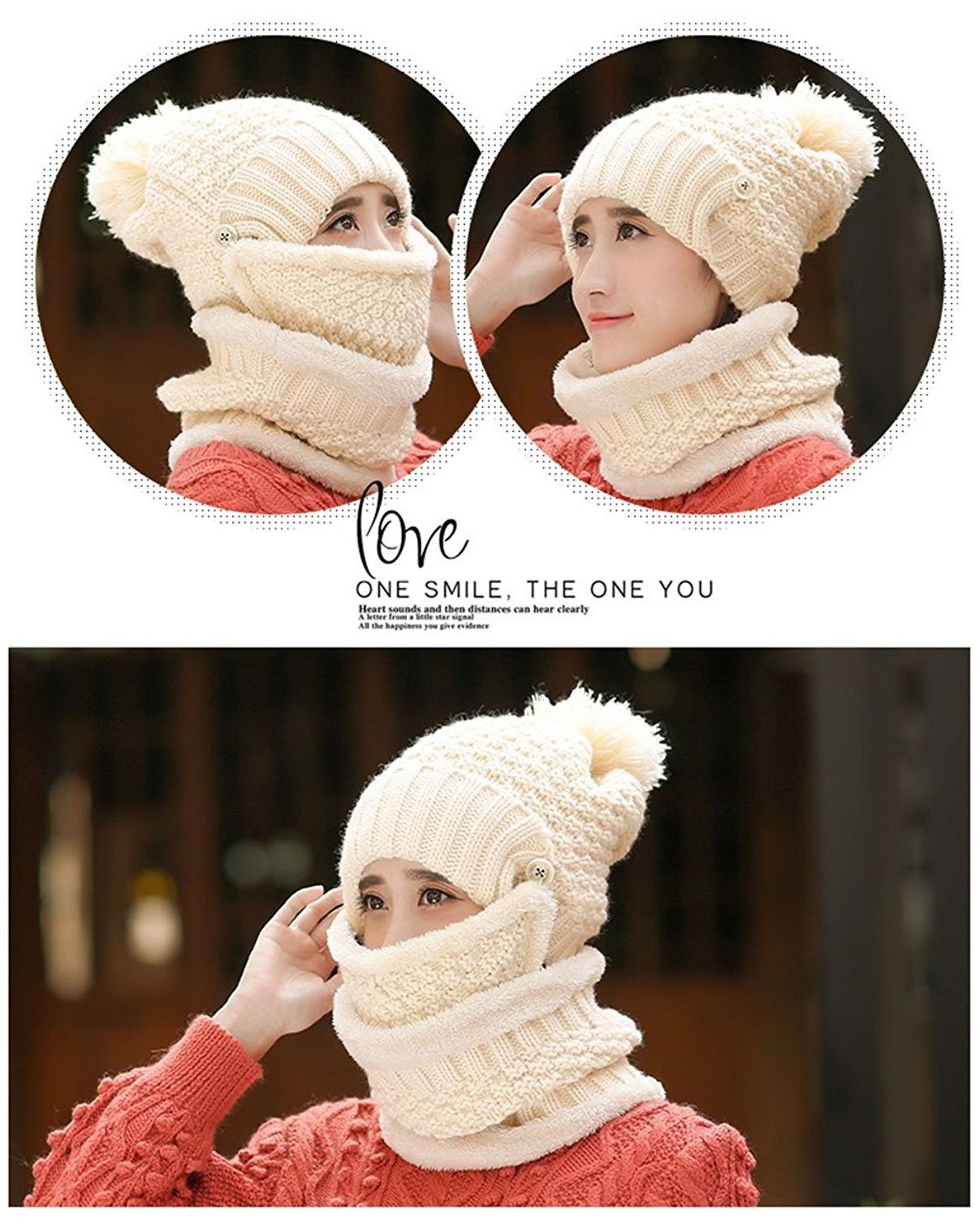 18239eec3dbd0 Womens Slouchy Beanie Hat Scarf and Mask Set 3 Pieces Knit Snow Skull Cap -  Beige - CR187XT7OX2 - Scarves & Wraps, Fashion Scarves #SCARVES #WRAPS  #fashion ...