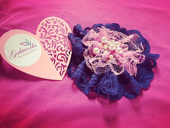 Blue/Pink FABRIC FLOWER Handmade Fabric Flower Brooch Blue