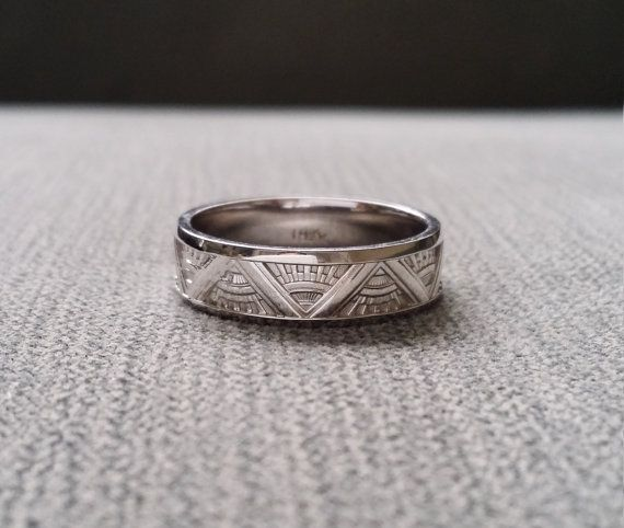 Bien connu Stunning english antique art deco platinum wedding band ring fine  NN37