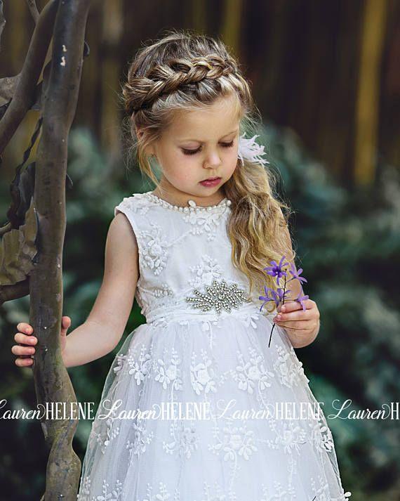 Gorgianna White Lace Flower Girl Dress Wedding Diy Decor