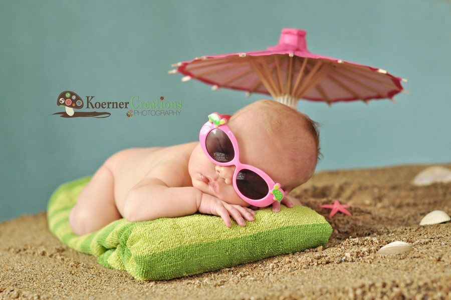 beach babe. Props in newborn photography