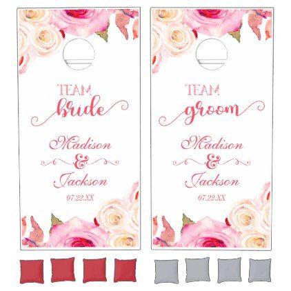 #bride - #Rose Pink & Yellow Floral Wedding Team Bride Groom Cornhole Set