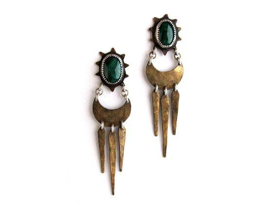 RESERVED // Malachite celestial crescent earrings by LaurelHill, $240.00
