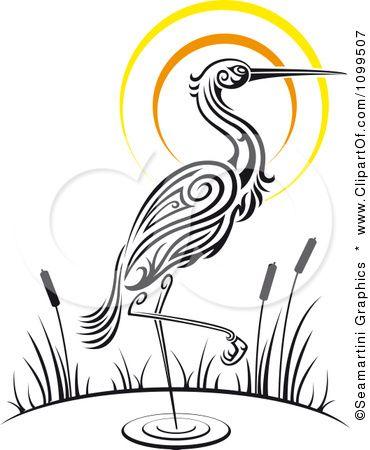 Clipart Wading Tribal Crane And Sunset Royalty Free Vector Illustration By Seamartini Graphics Heron Art Heron Tattoo Bird Drawings