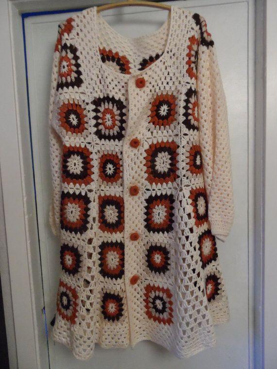 Crochet Granny Square 1960 S Hippie Boho Womens Coat Jacket Cardigan