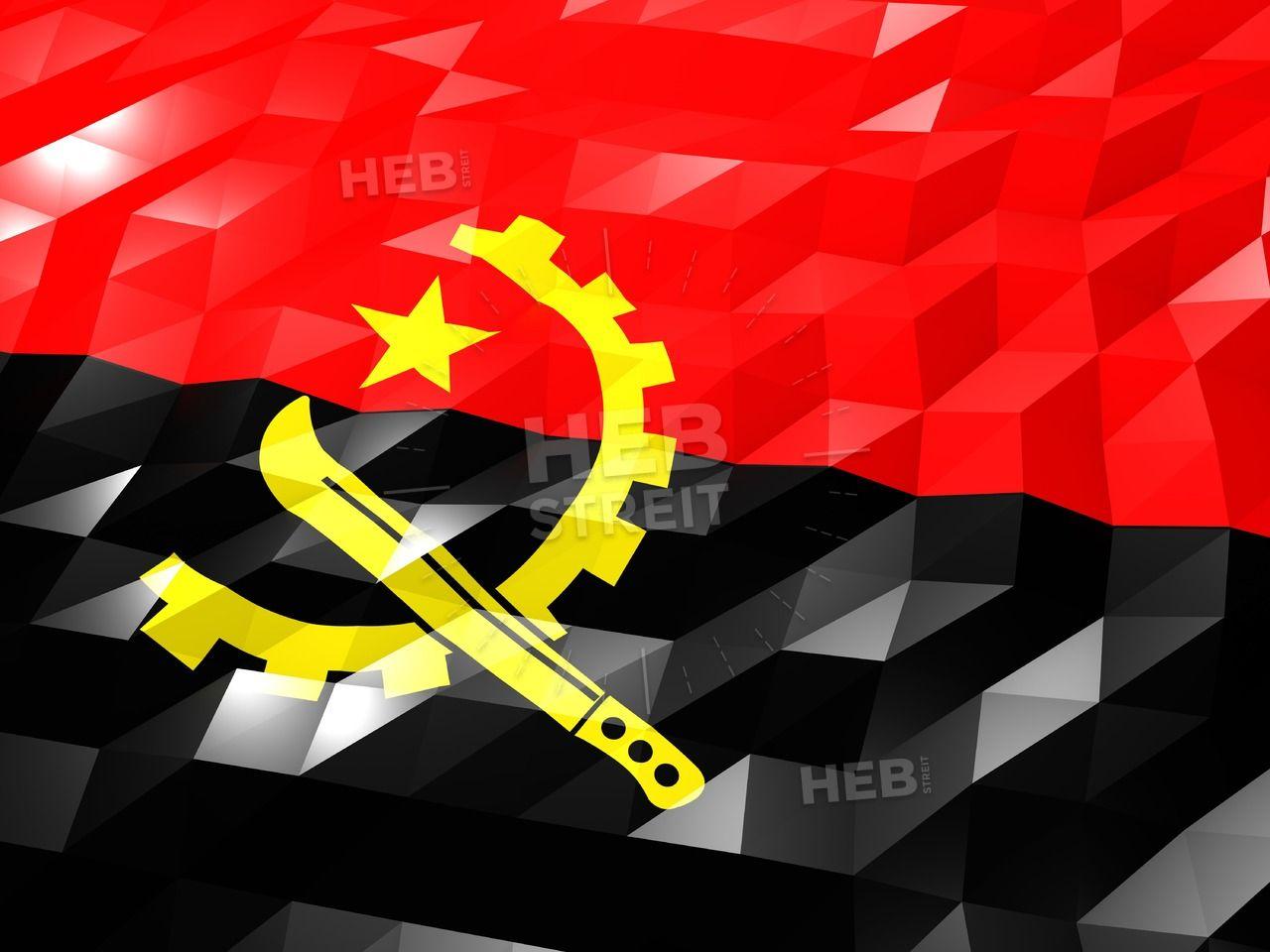 Flag Of Angola 3d Wallpaper Illustration Streit
