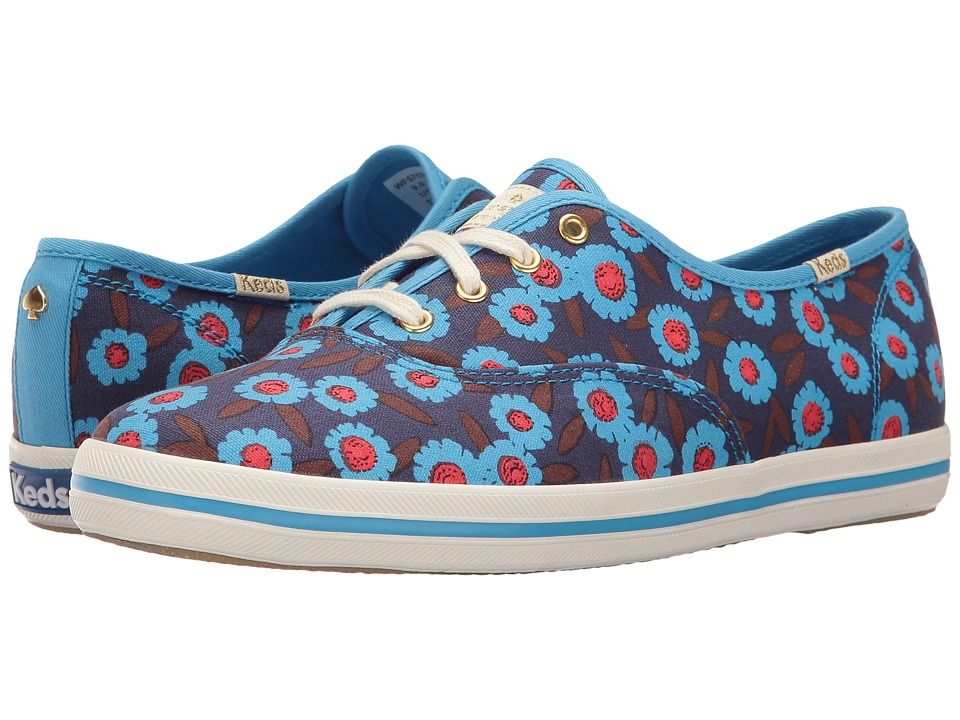 Kate Spade New York Kick Peacock Blue Floral Canvas Women