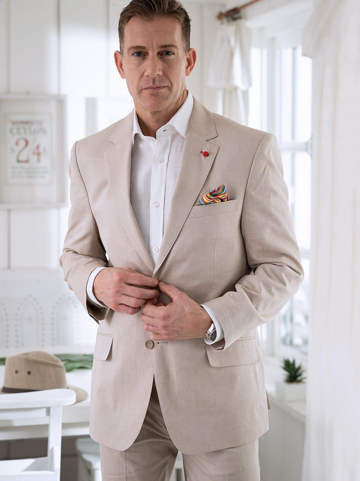 09ffa43440a SUMMER SUIT JACKET (SAND) - As light as linen but with sharper lines for a  smarter finish. Made from 100% cotton and fully lined with colour matched  satin.