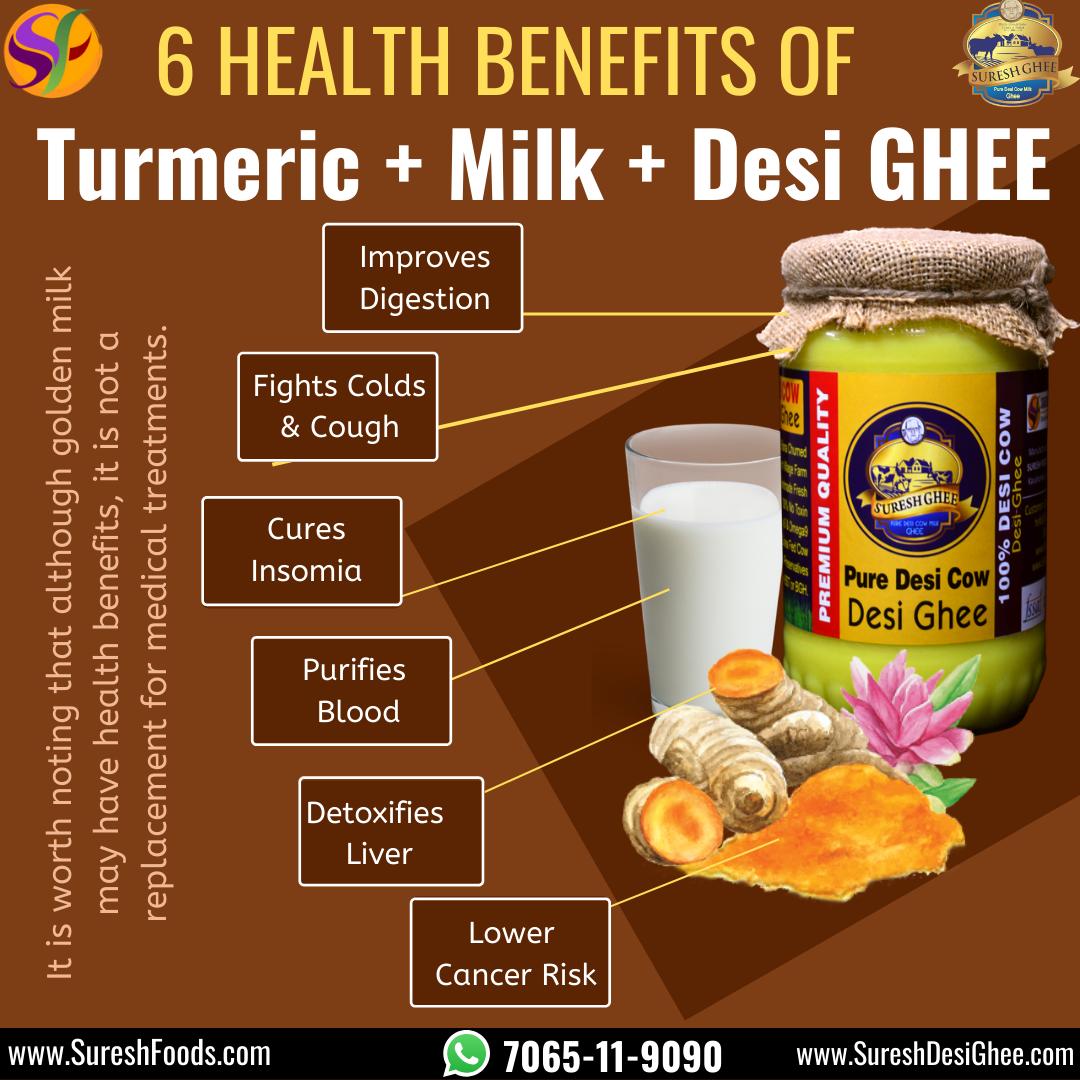 6 Health Benefits Of Turmeric Milk Desi Ghee Turmeric Milk Benefits Turmeric Health Benefits Cow Ghee