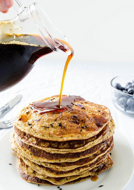 TARDIS Tea Pancakes (Blueberry Earl Grey Pancakes) - Gluten Free