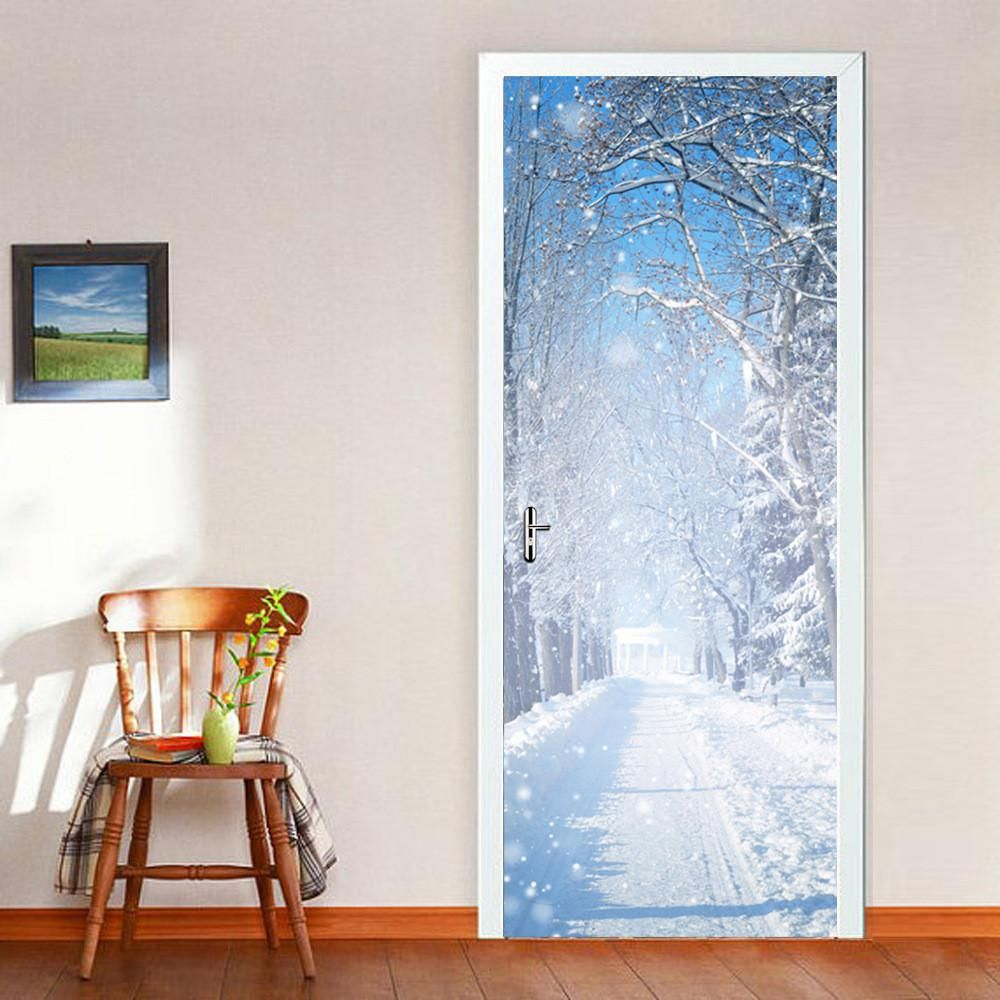 Funlife beautiful winter snow door sticker living room dinning room