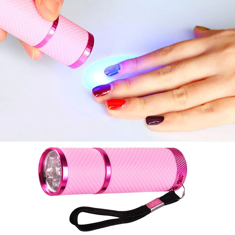 Mini 9 Led Flashlight Uv Lamp For Nail Gel Fast Dryer Cure Nail