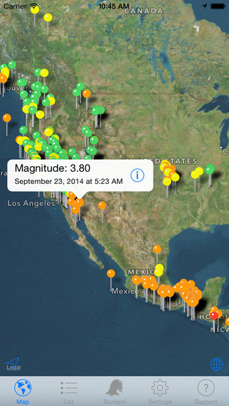 Quake spotter map list widget and alerts earthquake stars on quake spotter map list widget and alerts earthquake gumiabroncs Gallery