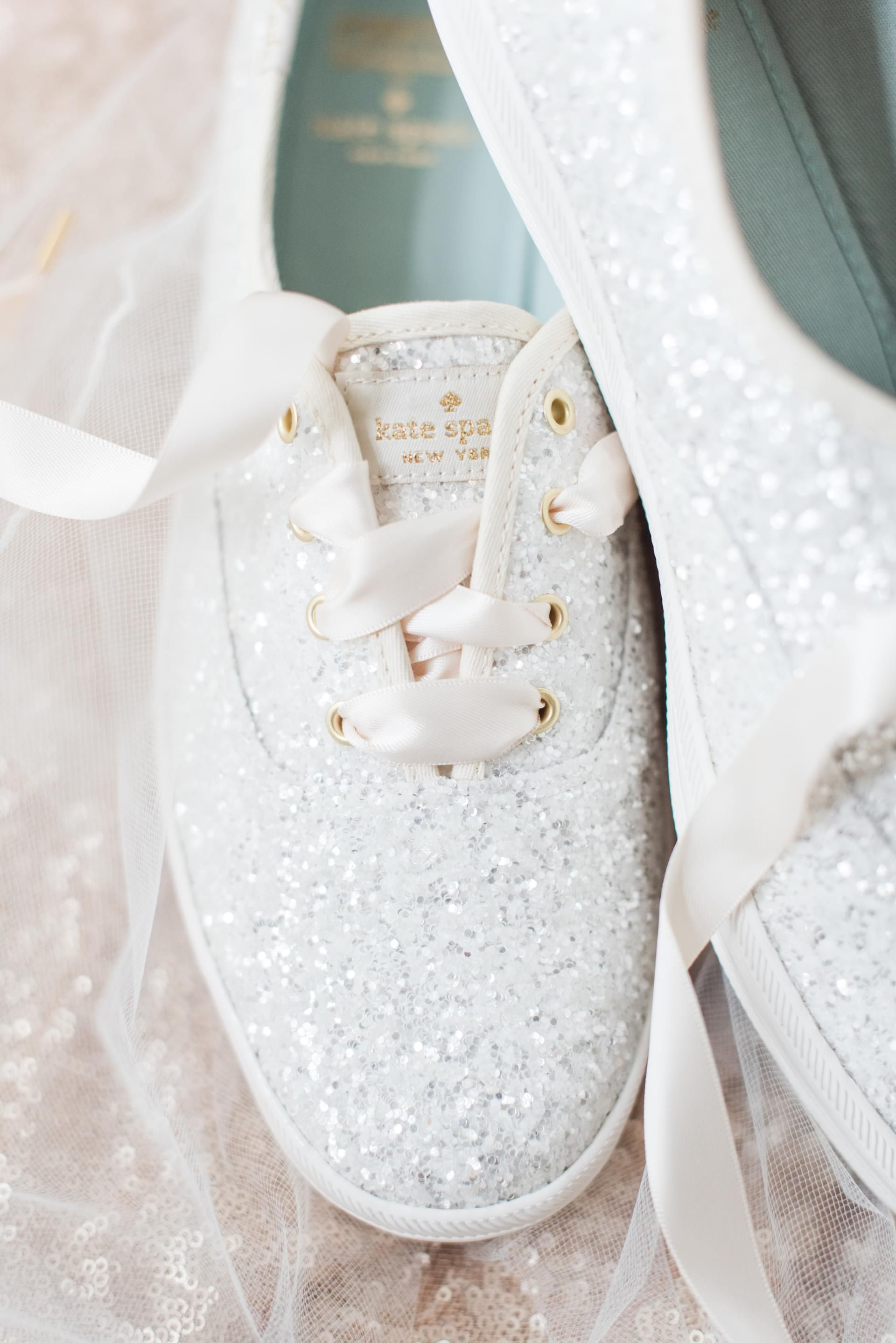 Kate Spade New York Silver Sparkles Tennis Shoes Wedding Sneakers Madeline