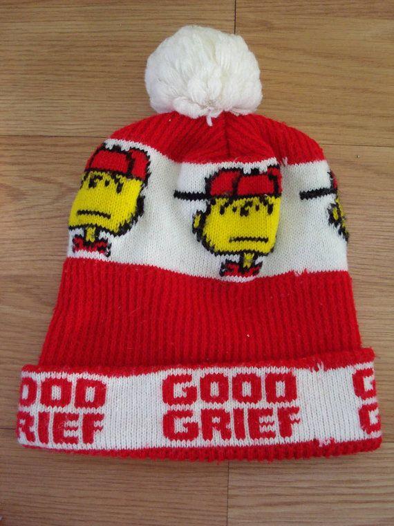 f9f11626a 1960s Charlie Brown Peanuts Ski Snowboarder Hat Mens Womens ...