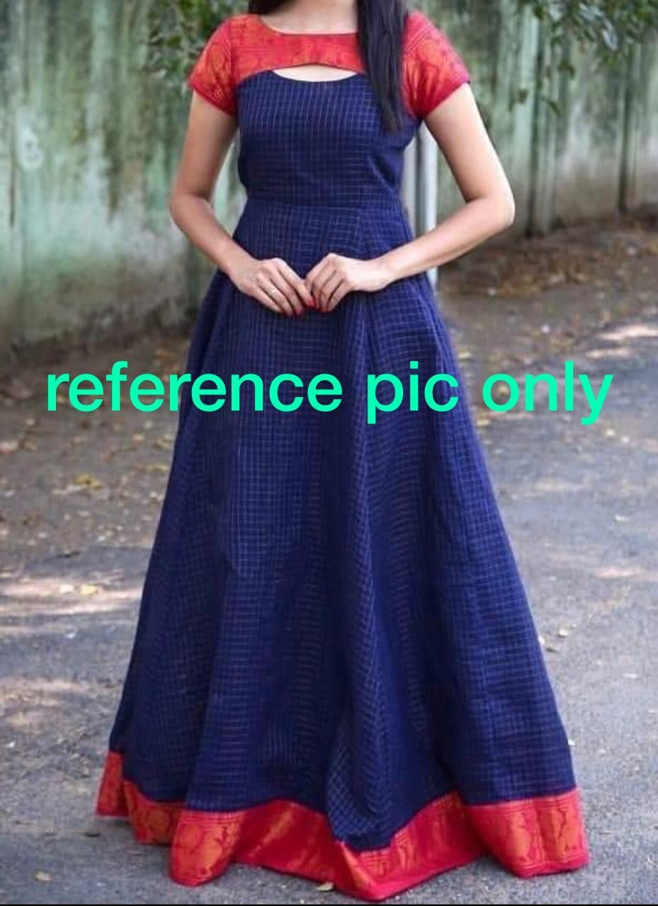 Kanchi Cotton Anarkalis Size 42 44 Lenth 56 For More Details Whatsapp 6309486442 Netted Blouse Designs One Piece Gown Long Gown Dress