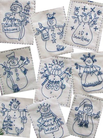 Snowmen by the Dozen Hand or Machine Embroidery Pattern~ What great fun for Christmas!