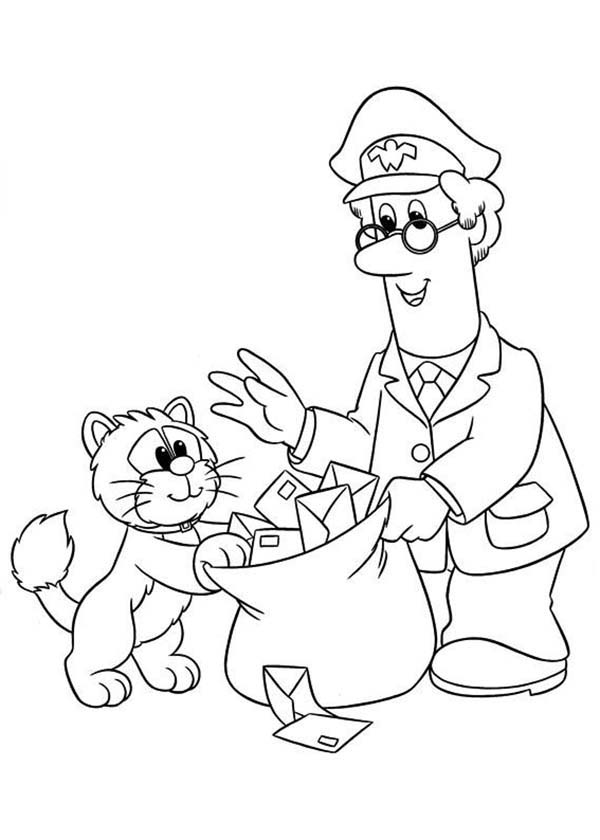 Postman Pat Put All Mail In A Bag Coloring Pages Bulk Color
