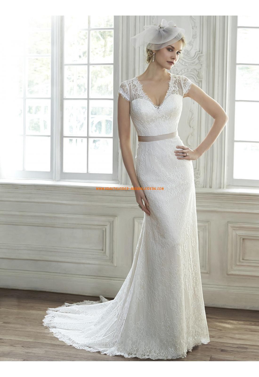 Meerjungfrau V-ausschnitt Traumhafte Brautkleider aus Spitze mit ...