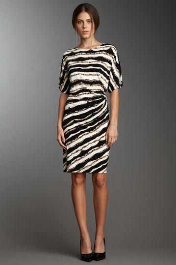 7c758dfb42 Calvin Klein Printed Side Buckle Dress Vestidos Cortos, Blanco Y Negro,  Moda Para Mujer