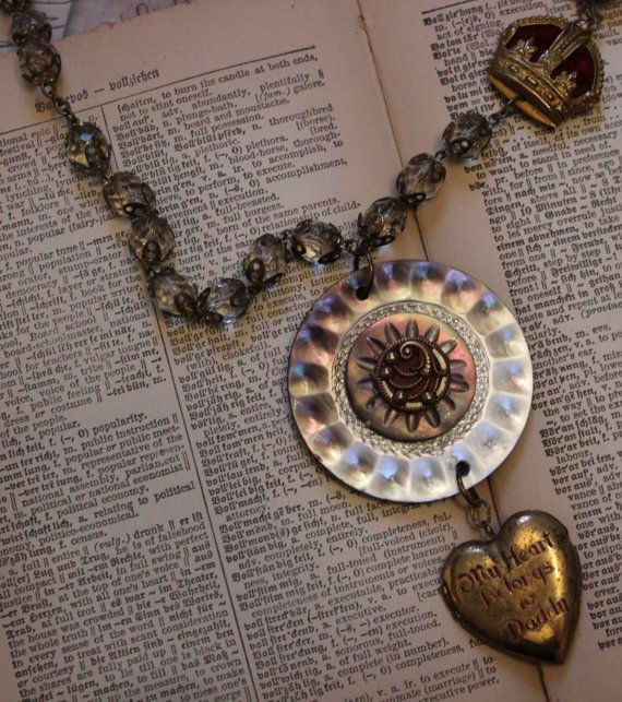 Upcycled Necklace Heart Locket Victorian by TheGildedGypsies
